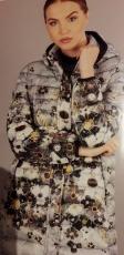 Dolcezza Kurzmantel mit Kapuze hellgrau mit Blumen