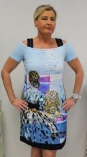 Dolcezza Kleid Farbe weiß/blau/lila Kurzarm