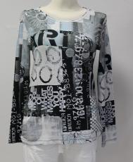 Dolcezza Langarm-Shirt weiß/eisblau/schwarz