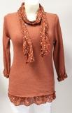 Pullover Langarm mit passendem Tuch Design Blümchen Farbe rostrot
