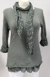 Pullover Langarm mit passendem Tuch Design Blümchen Farbe olivgrün