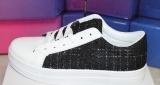 Damen-Low-Sneaker black mit Silberglanz