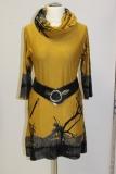 Kleid Druck Bäume Farbe gelb