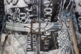 Dolcezza Mantel mit Kapuze weiß/eisblau mit Bindegürtel