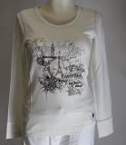 Dolcezza Langarm-Shirt weiß mit Druck in braun/schwarz