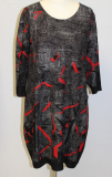 Kleid Oringo schwarz/grau Muster rot